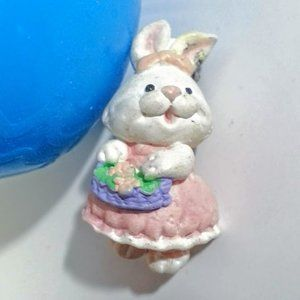 Vintage bunny pink pinafore  pin - Easter